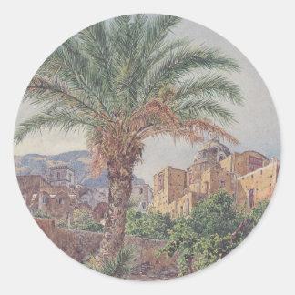 La catedral de Capri de Rudolf von Alt Pegatina Redonda