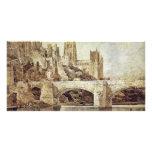 La catedral de Durham y el puente según lo visto d Tarjeta Fotográfica