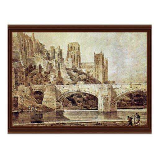 La catedral de Durham y el puente según lo visto d Postales