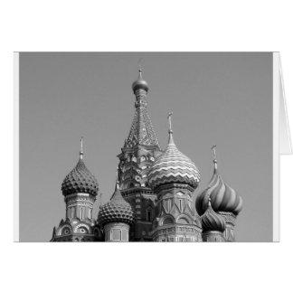 La catedral de la albahaca del santo de B&W Tarjeta De Felicitación