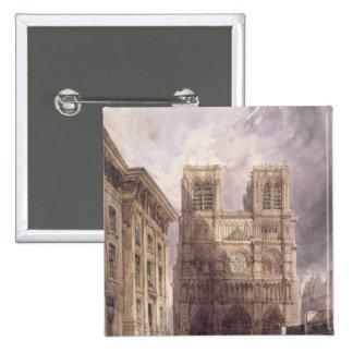 La catedral de Notre Dame, París, 1836 Pin Cuadrada 5 Cm
