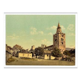La catedral de Sion, vintage de Valais, Suiza Postal
