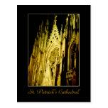 "La ""catedral de St Patrick en postal de la noche"""