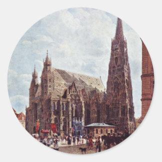 La catedral de St Stephen de la acción Im Eisen Pegatina Redonda