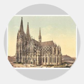 La catedral, lado, Colonia, el Rin, Alemania r Pegatina Redonda