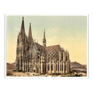 La catedral, lado, Colonia, el Rin, Alemania r Tarjetas Postales
