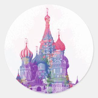 La catedral Moscú de la albahaca del santo Pegatina Redonda