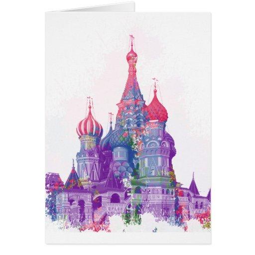 La catedral Moscú de la albahaca del santo Tarjetón