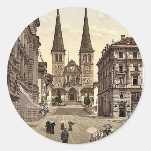 La catedral, vintage Photoc de Alfalfa, Suiza Pegatina Redonda