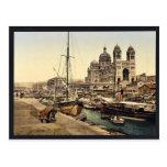 La catedral, vintage Photochr de Marsella, Francia Tarjeta Postal