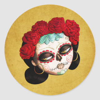 La Catrina - Dia de Los Muertos Girl Classic Round Sticker