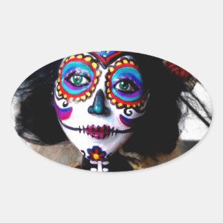 La Catrina Invokes the Spirits of the Ancestors Oval Sticker