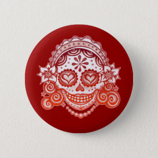 La Catrina Sugar Skull Button