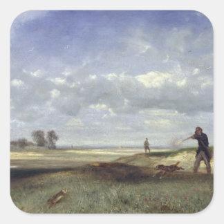 La caza, 1847 pegatina cuadrada