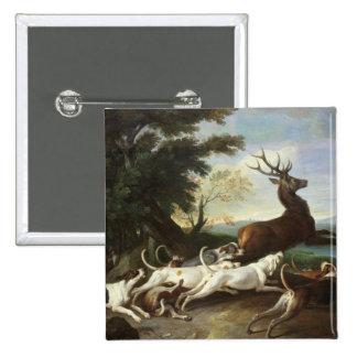 La caza de los ciervos, 1718 pin cuadrado