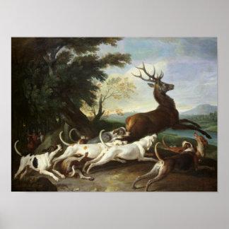 La caza de los ciervos, 1718 póster
