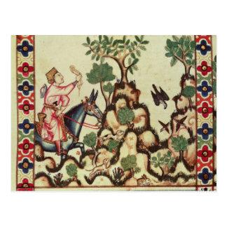 La caza del halcón, del manuscrito postales