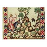La caza del halcón, del manuscrito tarjetas postales