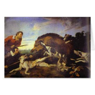 La caza del jabalí de Francisco Snyders Tarjeta De Felicitación