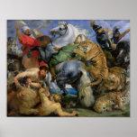 La caza del tigre, c.1616 póster