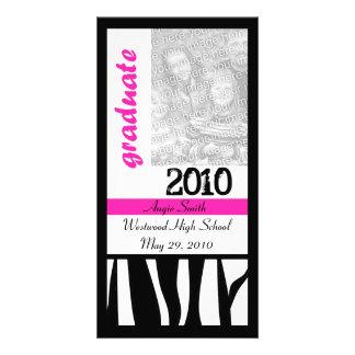 La cebra 2010 del graduado raya la tarjeta de la f tarjeta fotografica personalizada