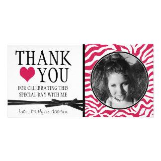 La cebra adolescente de las rosas fuertes le agrad tarjeta fotografica personalizada