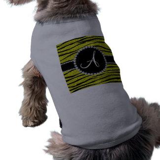 La cebra amarilla de neón del brillo del monograma playera sin mangas para perro
