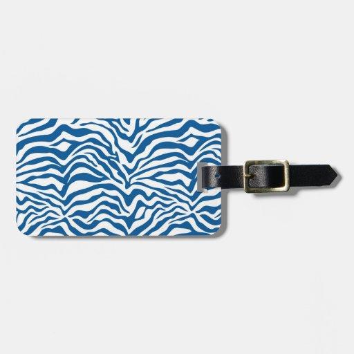 La cebra azul de la diversión raya el estampado de etiquetas maleta