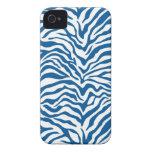 La cebra azul de la diversión raya el estampado de iPhone 4 Case-Mate protector