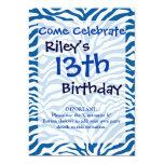 La cebra azul de la diversión raya el estampado de invitación 12,7 x 17,8 cm