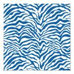 La cebra azul de la diversión raya el estampado de invitación 13,3 cm x 13,3cm