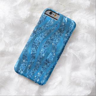 La cebra azul del brillo atractivo raya la caja funda de iPhone 6 barely there