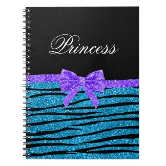 La cebra azul del brillo de la princesa raya el ar libros de apuntes con espiral