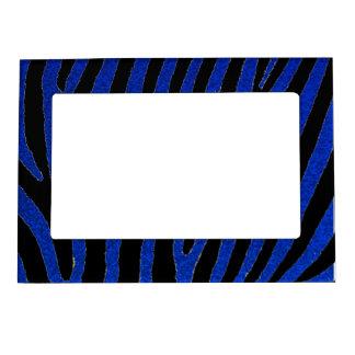 La cebra azul del brillo raya el marco magnético marcos magneticos de fotos