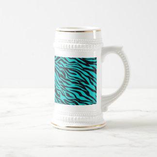 La cebra azul del trullo raya la novedad salvaje jarra de cerveza