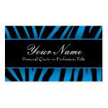 La cebra azul y negra elegante raya tarjetas de vi plantillas de tarjetas de visita