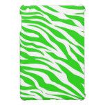 La cebra blanca de la verde lima raya estampados d iPad mini protector