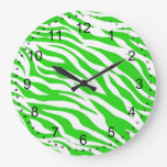 La cebra blanca de la verde lima raya estampados d relojes de pared