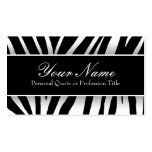 La cebra blanca y negra elegante raya tarjetas de  plantillas de tarjetas personales