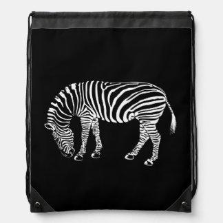 La cebra blanco y negro raya arte mochila