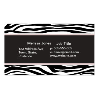La cebra blanco y negro raya el estampado de anima plantilla de tarjeta de visita