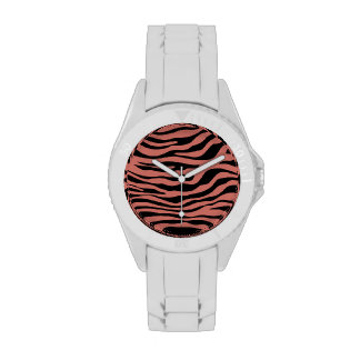 La cebra de color salmón oscura raya el estampado  relojes de mano