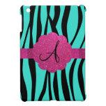 La cebra de la turquesa raya el monograma iPad mini cárcasas