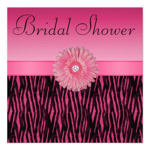 La cebra de las rosas fuertes raya la ducha nupcia invitación personalizada