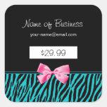 La cebra de moda del trullo raya precios rosados calcomanías cuadradass personalizadas