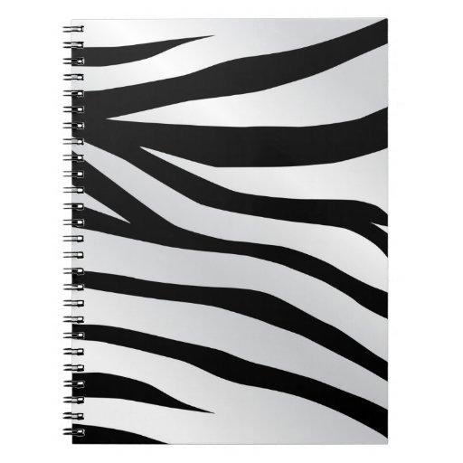La cebra de moda moderna raya el modelo libro de apuntes