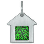 La cebra de neón de moda fresca de la verde lima r placas mascota