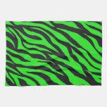 La cebra de neón de moda fresca de la verde lima r toallas de mano