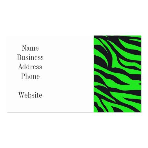 La cebra de neón de moda fresca de la verde lima r plantillas de tarjetas de visita