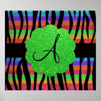 La cebra del arco iris del brillo raya el monogram poster